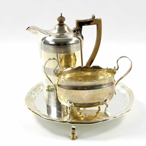 ENGLAND tray with a mocha pot and Handle bowl, silver, 20. Century - photo 1