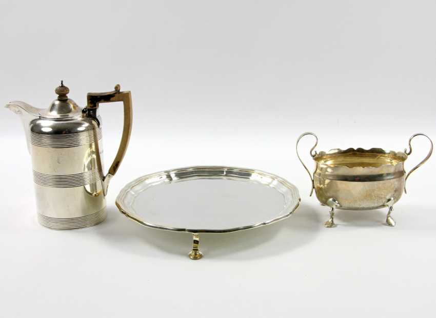 ENGLAND tray with a mocha pot and Handle bowl, silver, 20. Century - photo 2