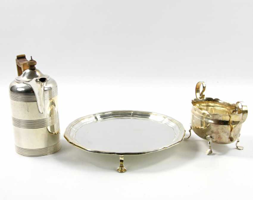 ENGLAND tray with a mocha pot and Handle bowl, silver, 20. Century - photo 3