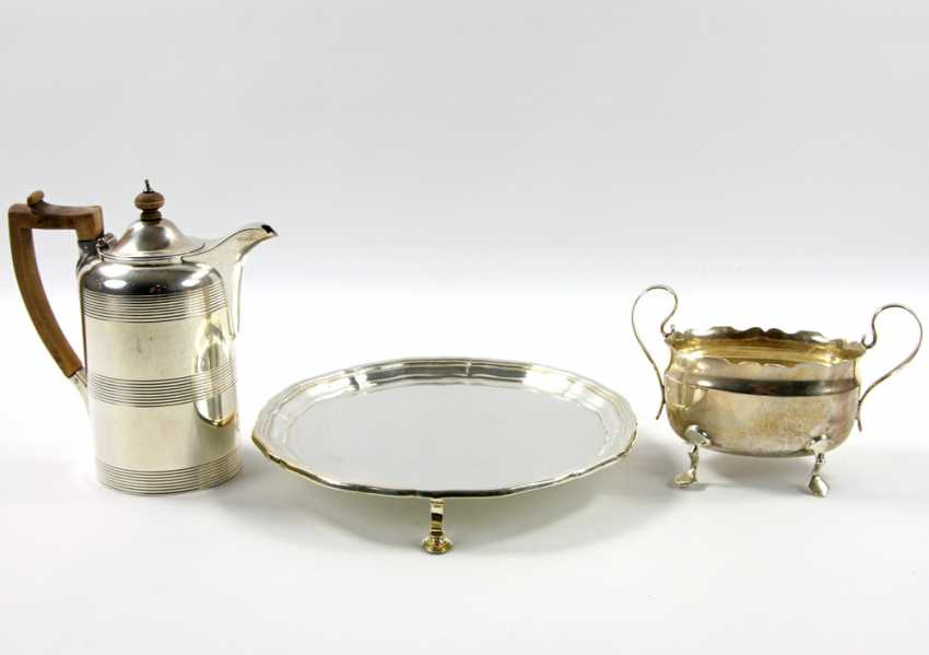 ENGLAND tray with a mocha pot and Handle bowl, silver, 20. Century - photo 4