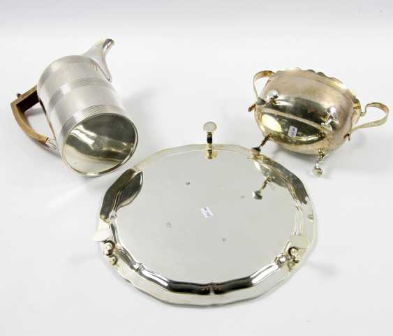 ENGLAND tray with a mocha pot and Handle bowl, silver, 20. Century - photo 5