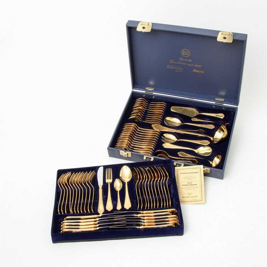 SOLINGEN Cutlery set for 12 persons, gold-plated tungsten, 20. Century - photo 2