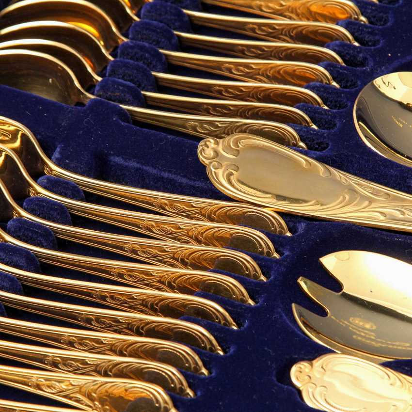 SOLINGEN Cutlery set for 12 persons, gold-plated tungsten, 20. Century - photo 4