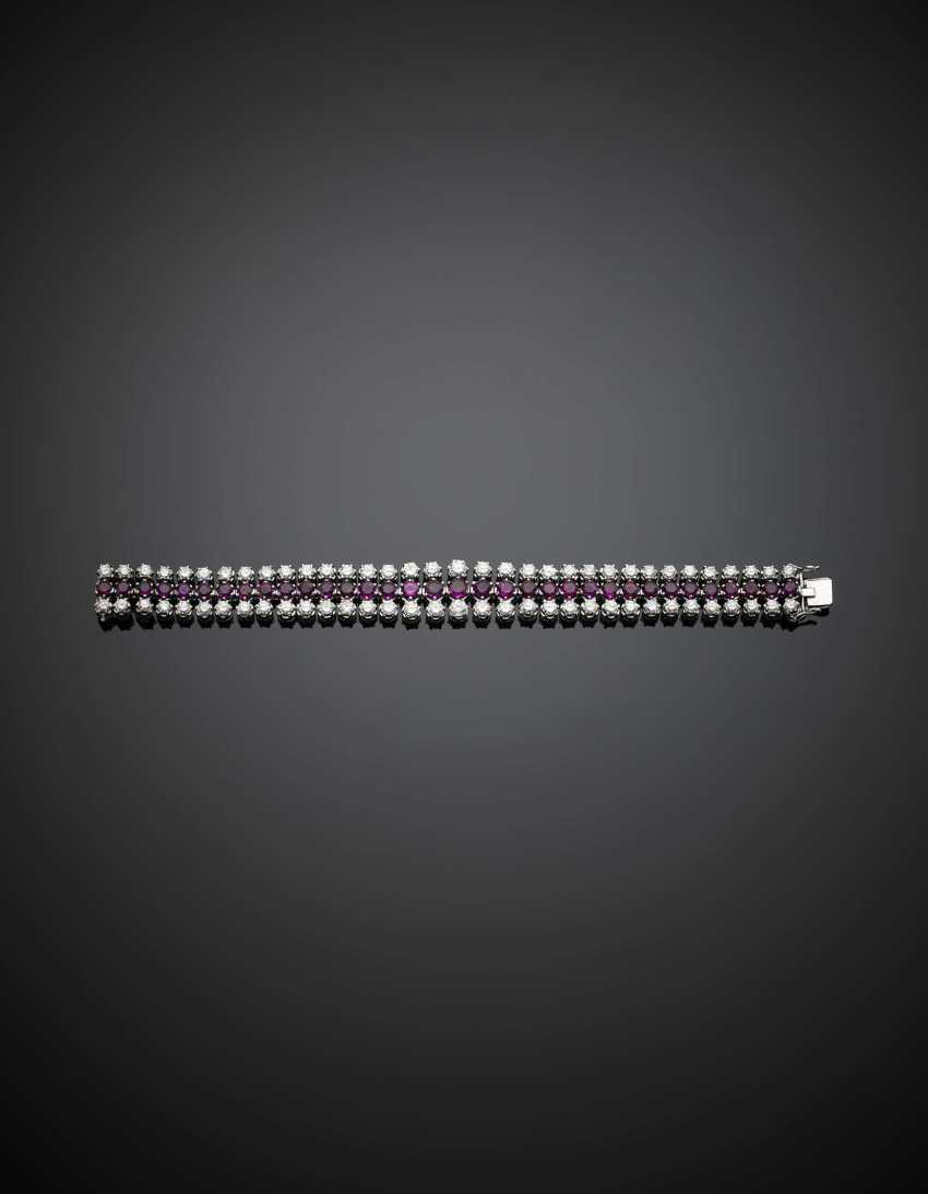 Ruby and diamond slightly graduated white gold modular bracelet - photo 1