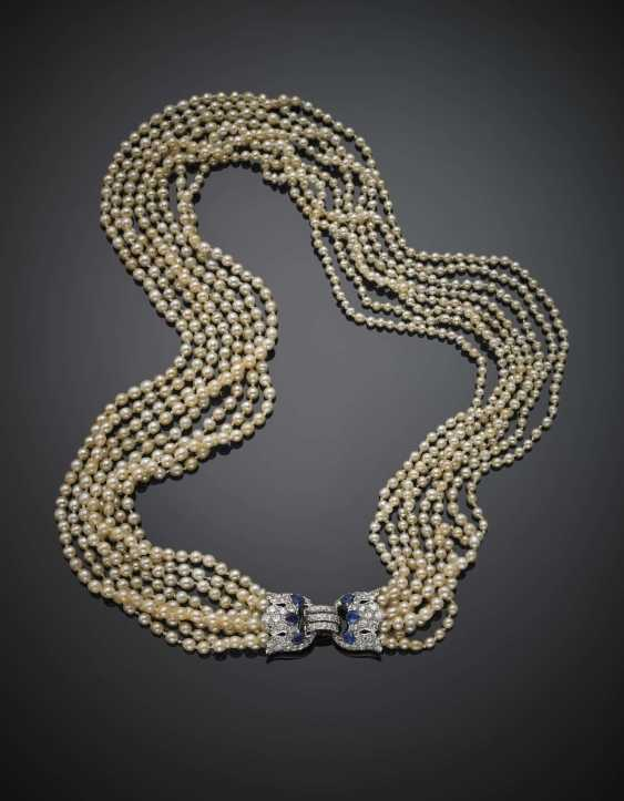 Eight strand natural saltwater pearl necklace with white gold diamond in all ct. 3 circa and pear sapphire clasp - photo 1