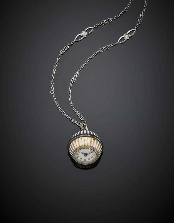 CARTIER | Rose cut diamond and french cut calibré sapphire enamel bi-coloured gold ball pendant watch held by a white gold diamond accented chain with a 14K gold clasp - photo 1