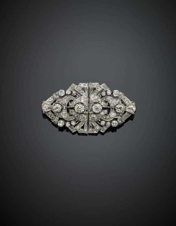 Old mine diamond platinum and gold double clip brooch in all ct. 21 circa - photo 1