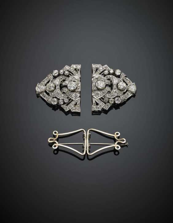 Old mine diamond platinum and gold double clip brooch in all ct. 21 circa - photo 2