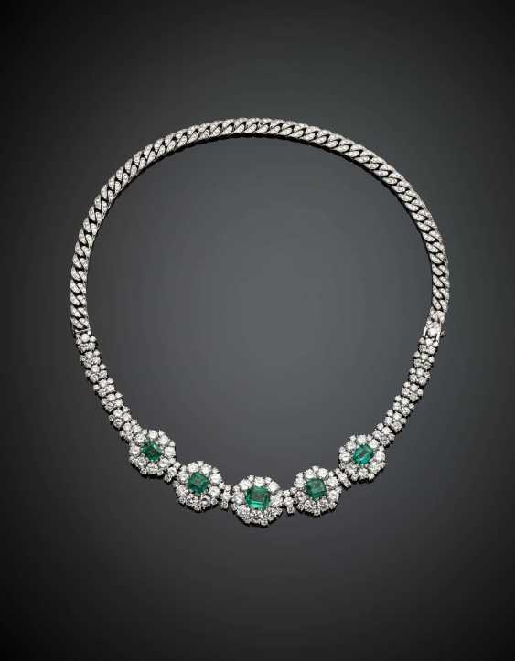 Weißgold-Diamant und achteckiger Smaragd cm 17,50 ca. Armband mit Weißgold-Diamantkette, um es auch als Halskette zu tragen - Foto 1