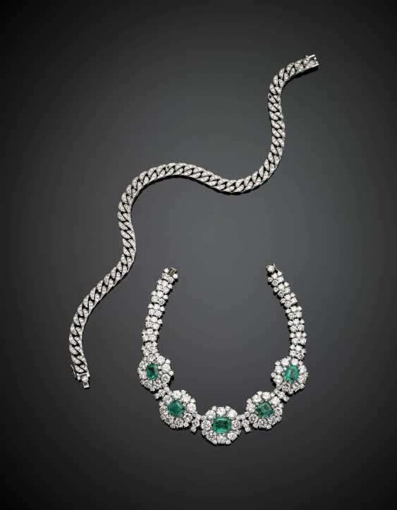 Weißgold-Diamant und achteckiger Smaragd cm 17,50 ca. Armband mit Weißgold-Diamantkette, um es auch als Halskette zu tragen - Foto 2