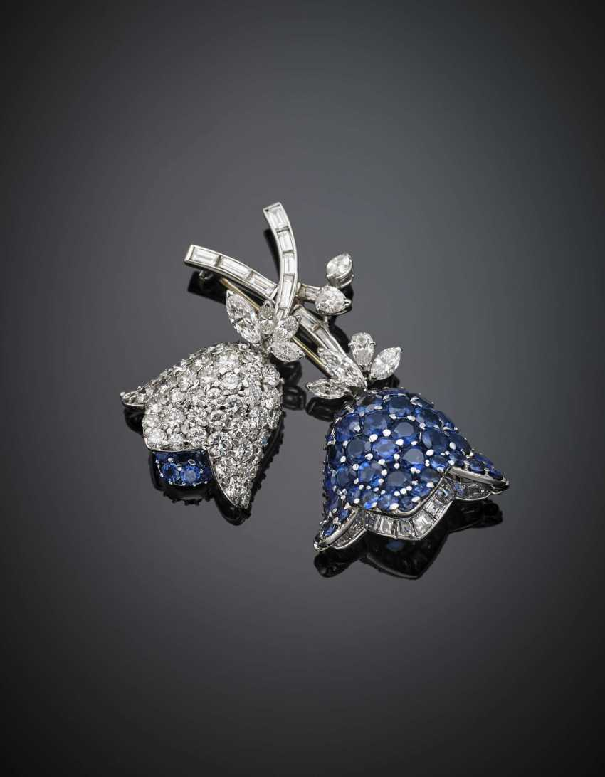 Round and tapered diamond with sapphire white gold brooch - photo 1