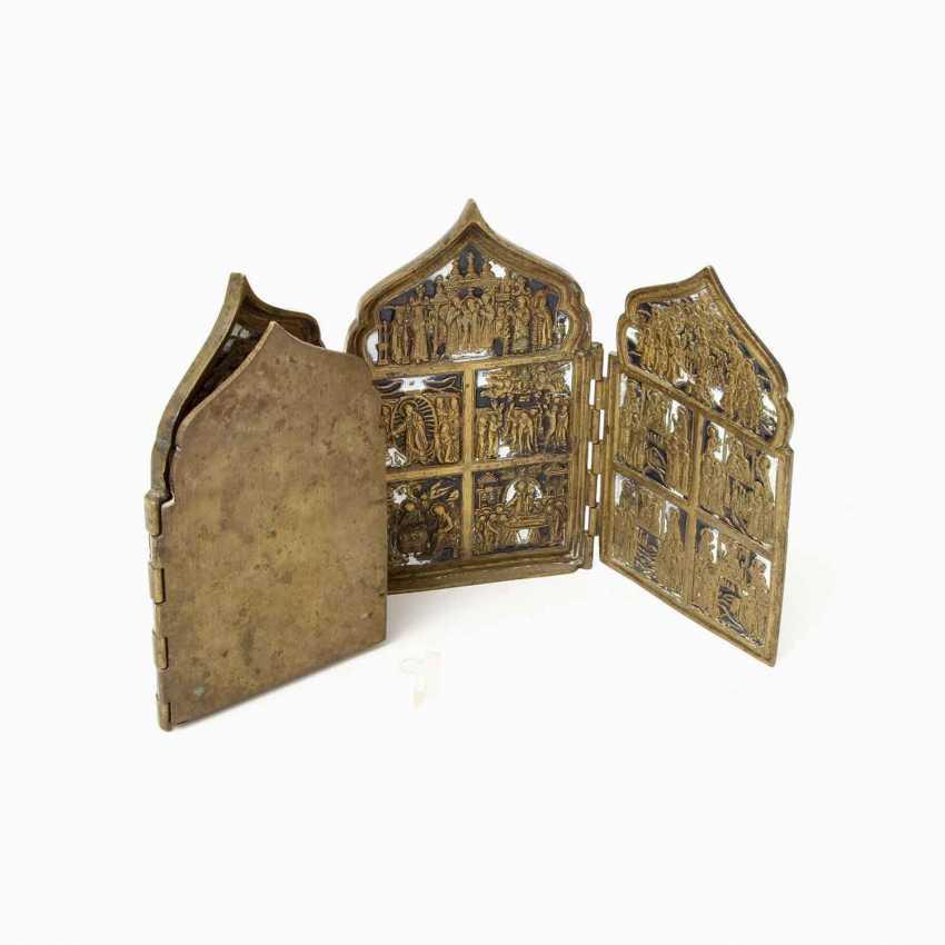 Travel folding altar made of brass. RUSSIA, 19th century. Century - photo 4
