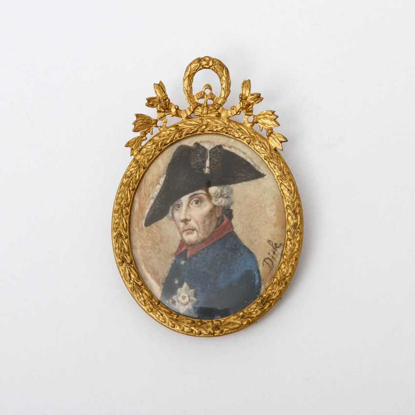 """Miniature """"FREDERICK THE GREAT"""" with the icon frame, C. 1900, - photo 1"""