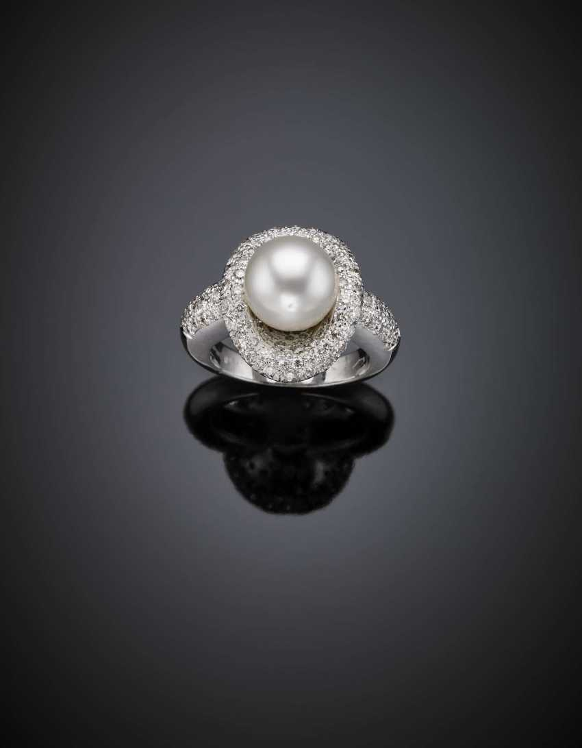 Mm 10.15 circa cultured pearl and diamond white gold ring - photo 1