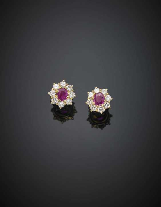 Yellow gold diamond and ruby cluster earrings - photo 1