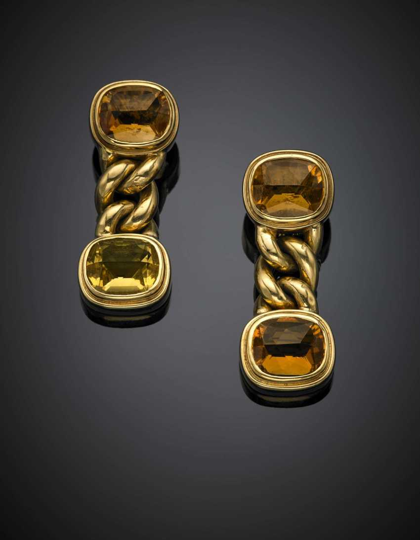 Yellow gold and cushion shape citrine quartz gourmette chain pendant earclips - photo 1