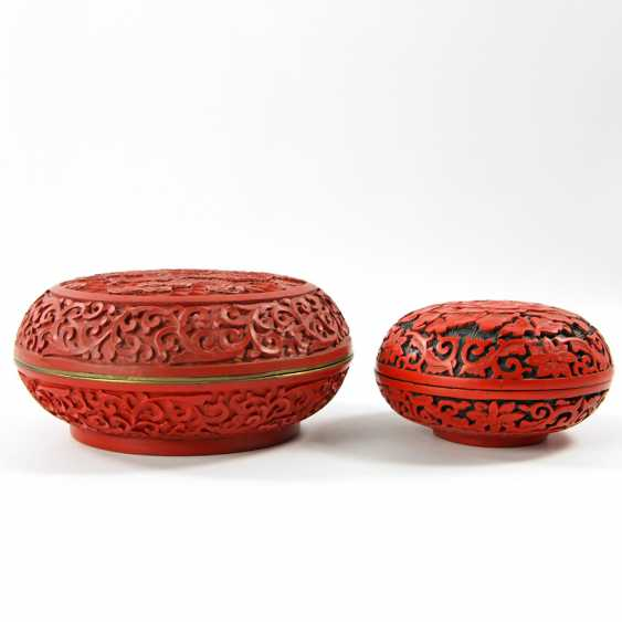 Two Lacquer Red-Lid Cans. CHINA, 20. Century - photo 2