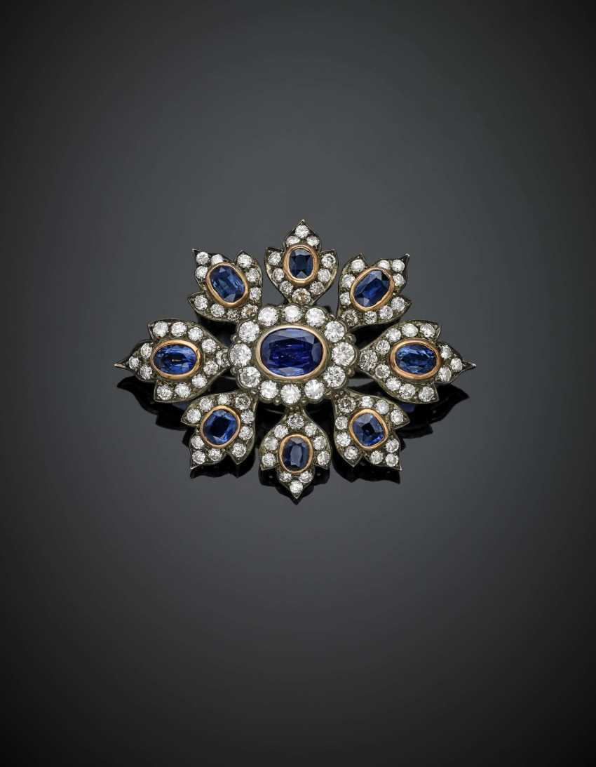 Diamond in all ct. 2.50 circa and sapphire in all ct. 4.30 circa silver and gold brooch - photo 1