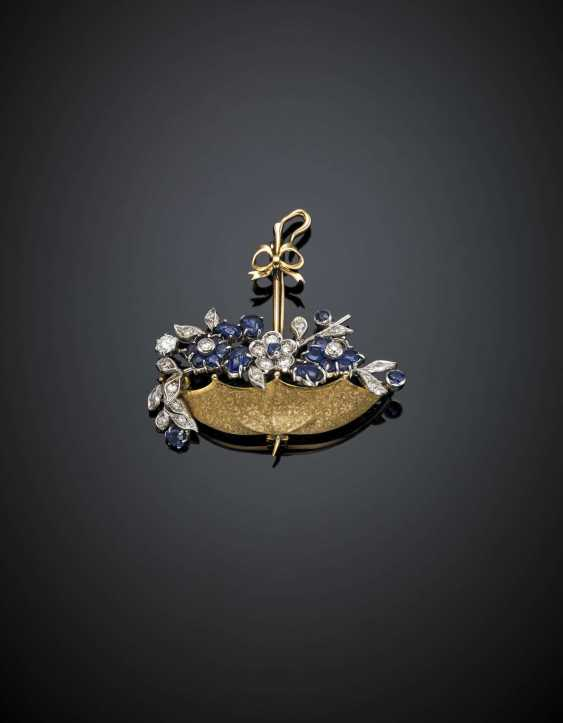 Diamond and carved sapphire chased silver and gold umbrella brooch/pendant - photo 1