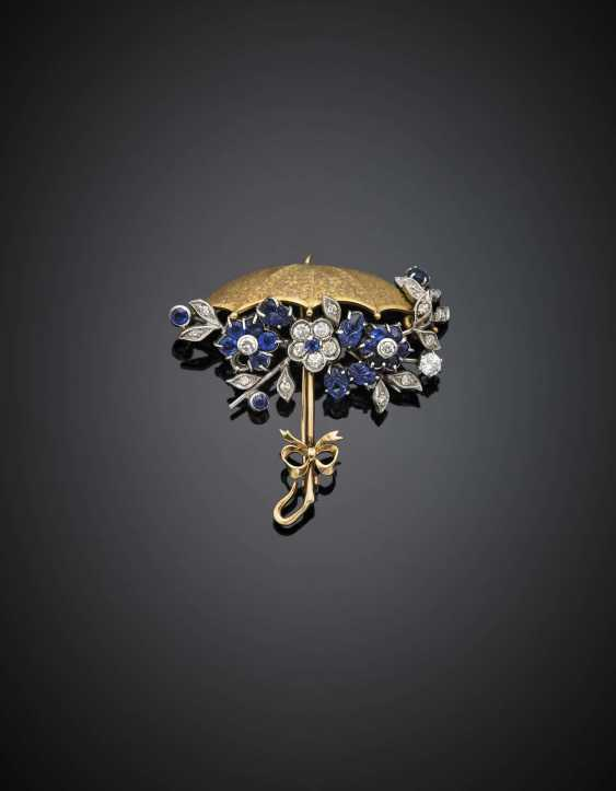 Diamond and carved sapphire chased silver and gold umbrella brooch/pendant - photo 2