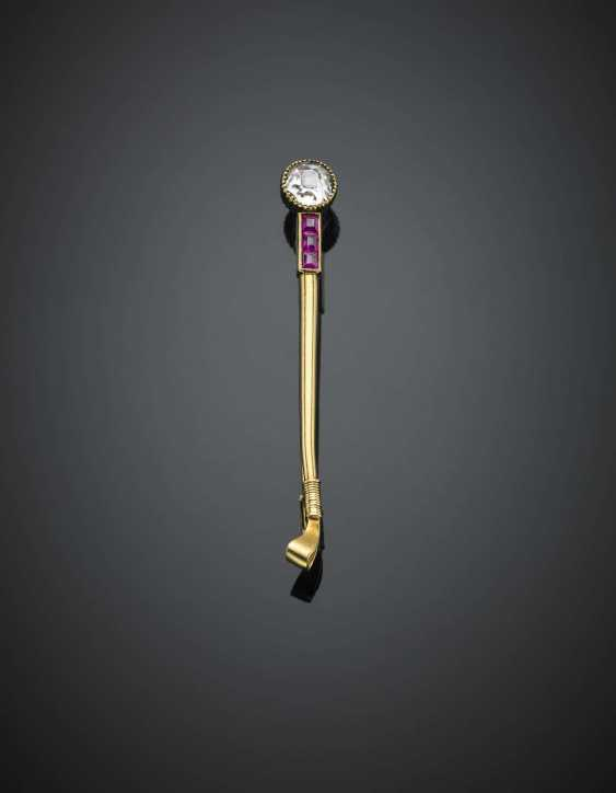 Yellow gold ct. 0.60 circa diamond and ruby whip brooch - photo 1