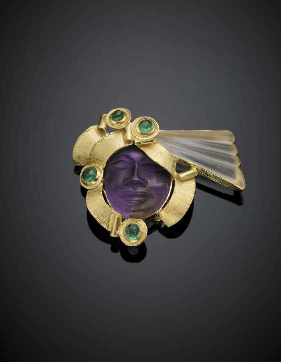 Hyaline and ametrine carved quartz yellow gold brooch accented with cabochon emerald - photo 1
