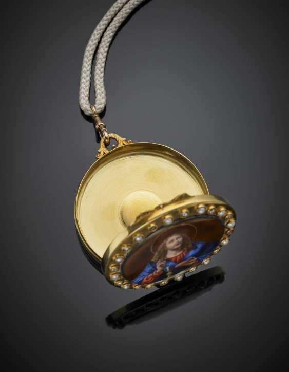Medaillon im Roséschliff mit Diamant und Perlgelbgold mit Emailminiatur - Foto 2