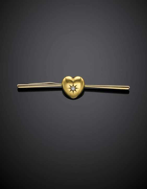 Yellow 18K and 12K gold bar brooch with heart and diamond - photo 1