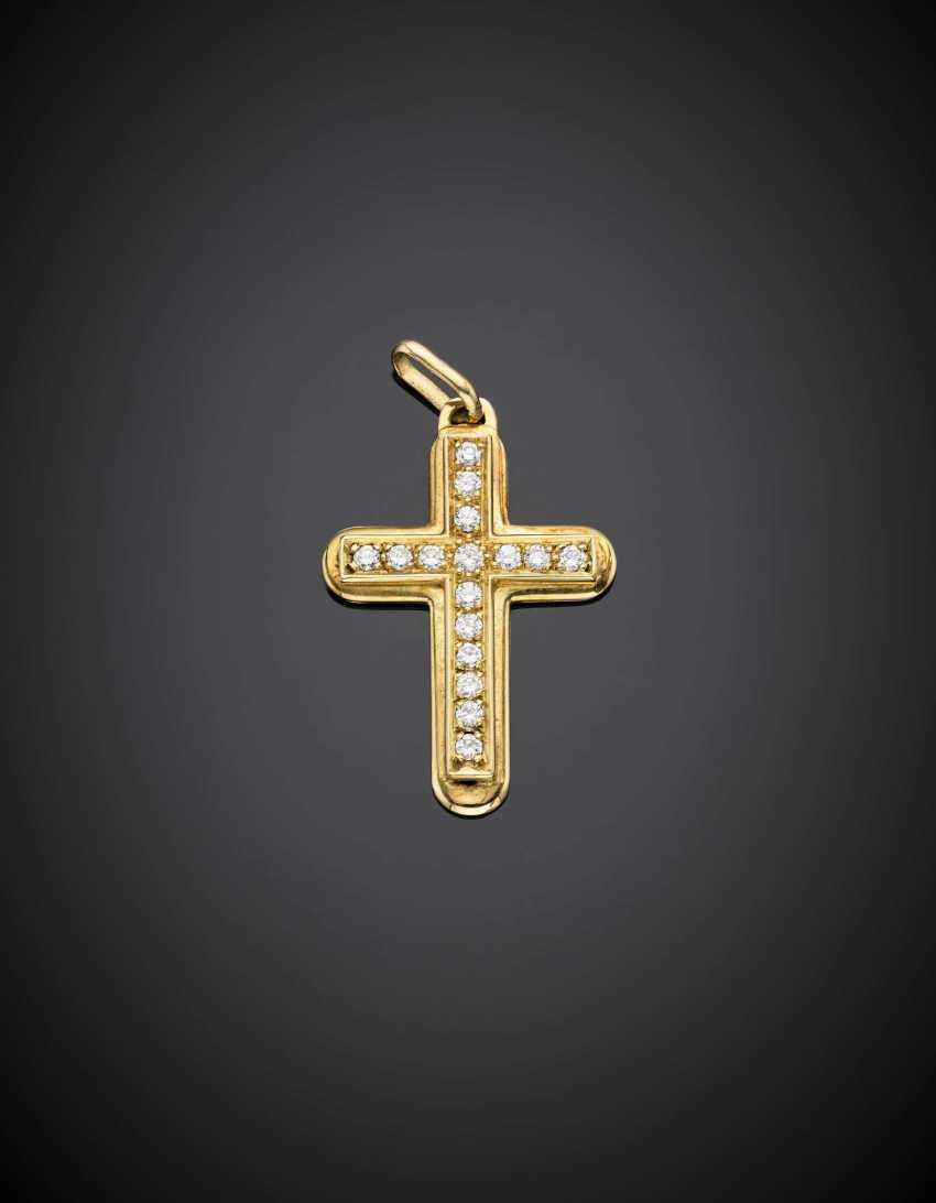 Yellow gold diamond pendant cross - photo 1