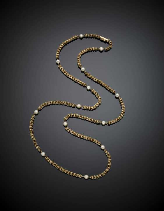 Long yellow gold interwoven necklace with pearls - photo 1