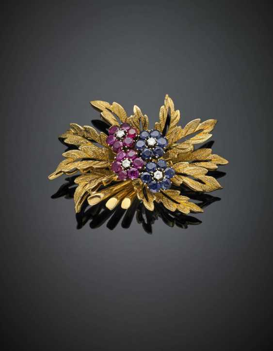 Yellow gold diamond ruby and sapphire floral brooch - photo 1