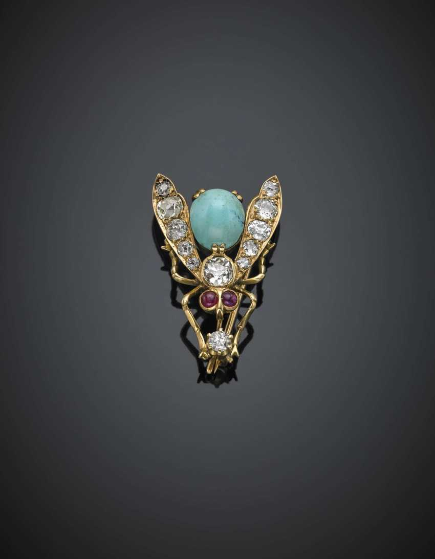 Old mine diamond in all ct. 1.90 circa and turquoise yellow gold fly brooch - photo 1