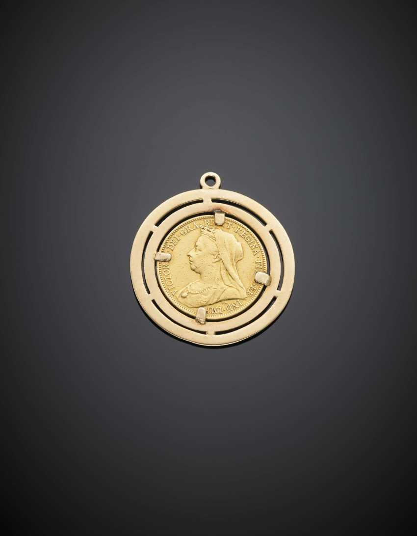 Yellow gold british pound pendant g 12.40 circa - photo 1