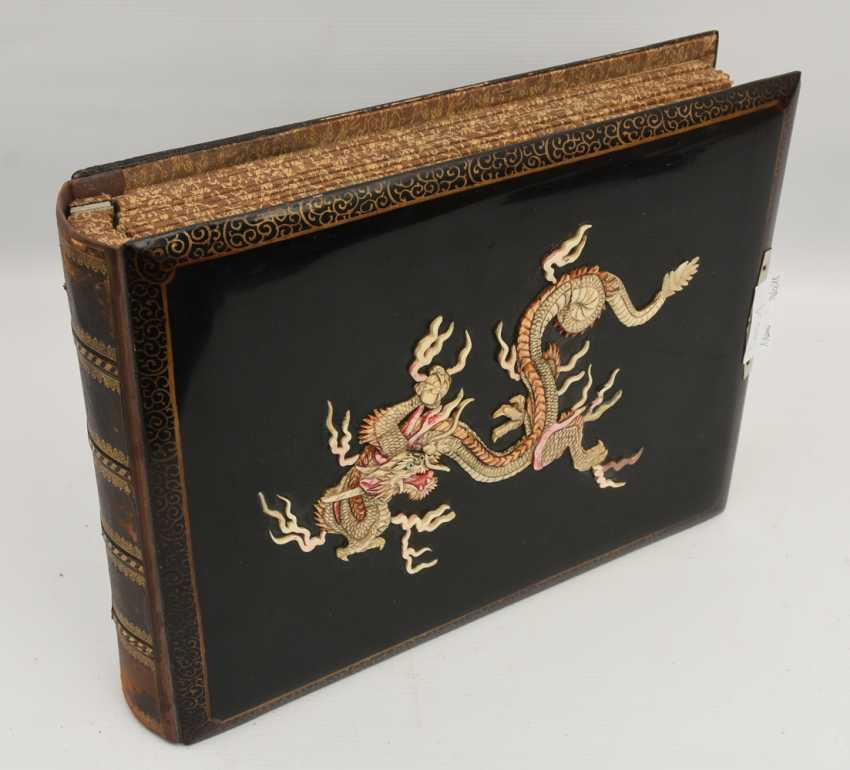 Photo album, matte black/limestone/mother of pearl/silk/fathers, China, around 1920 - photo 3