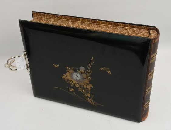 Photo album, matte black/limestone/mother of pearl/silk/fathers, China, around 1920 - photo 4