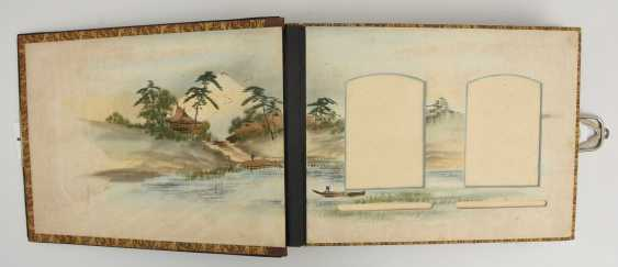 Photo album, matte black/limestone/mother of pearl/silk/fathers, China, around 1920 - photo 5