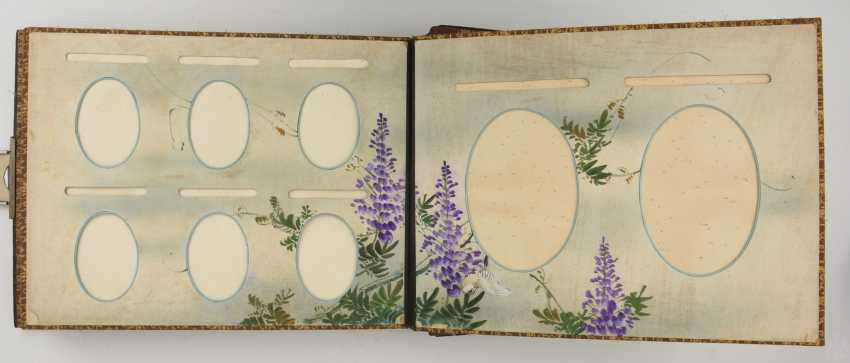 Photo album, matte black/limestone/mother of pearl/silk/fathers, China, around 1920 - photo 6
