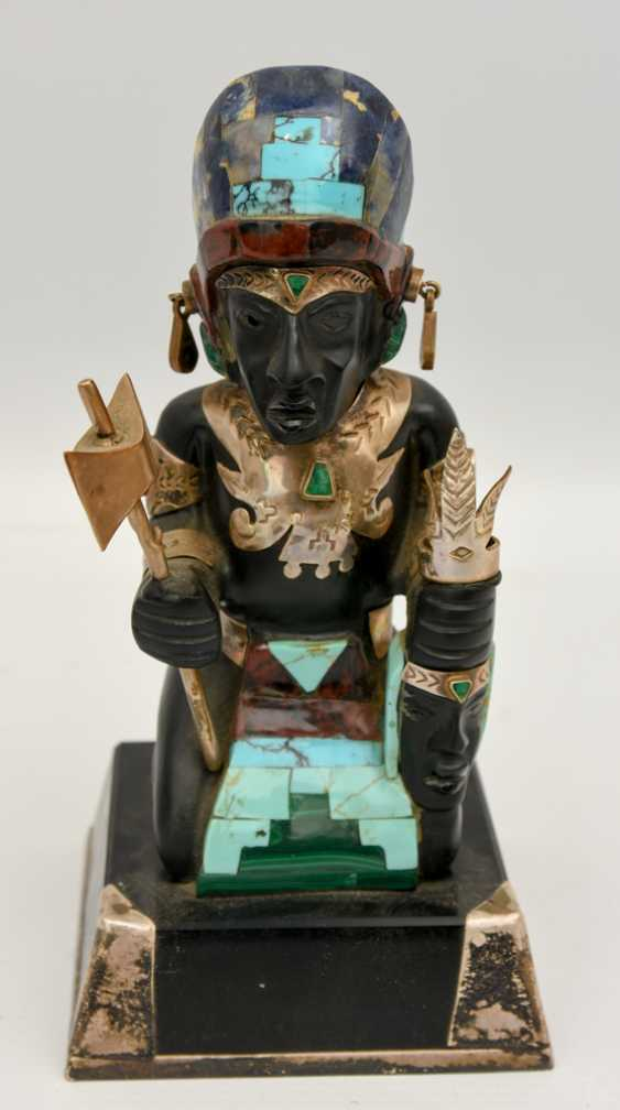 AZTEC CHIEFTAIN, the figure with silver fittings and semi-precious stones, 20. Century - photo 1