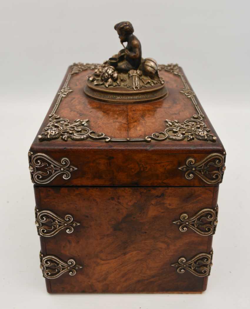 Wooden chest, veneered walnut burl, silver, with dedication, Germany, around 1910 - photo 3