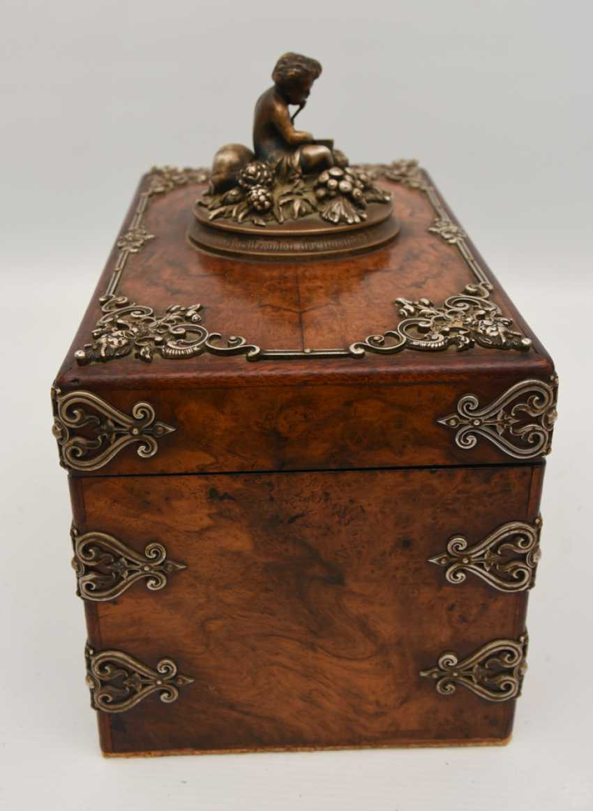 Wooden chest, veneered walnut burl, silver, with dedication, Germany, around 1910 - photo 5