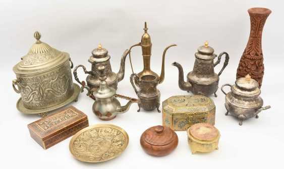 GROUP of ARAB decorative objects, brass/Nickel/wood carved and partly chased/, Orient 20. Century - photo 1