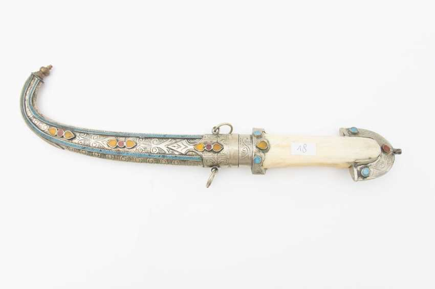 Curved dagger WITH steel scabbard, leg/semi-precious stones, Morocco, early 20th. Century - photo 4