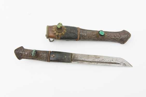 KNIVES WITH semi-precious stones, bone/leather/metal,the end of the 19th century. Century - photo 1