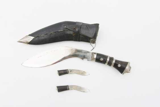 GURKHA KURI KNIFE,steel/leather/silver plate.India 20. Century - photo 2