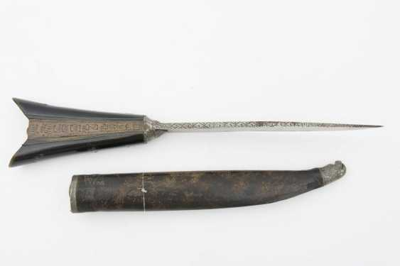 DAGGER WITH leather sheath, ebonisierter handle, cutting/wood/leather, the end of the 19th century. Century - photo 1