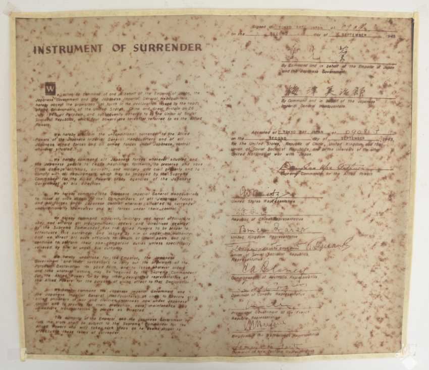 Declaration of SURRENDER of the Empire of JAPAN (a copy), print on transparent paper, Germany 1946 - 1970 - photo 1