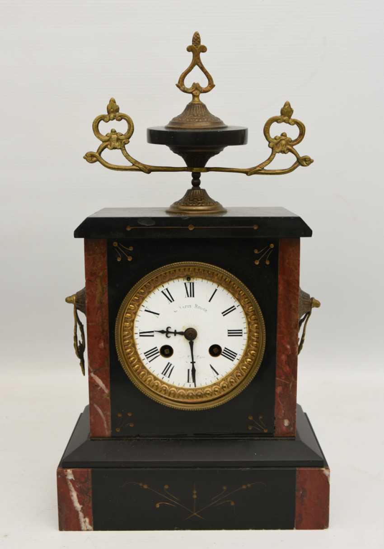 Mantel clock, Empire style, marble/glass/metal, France 20. Century - photo 1