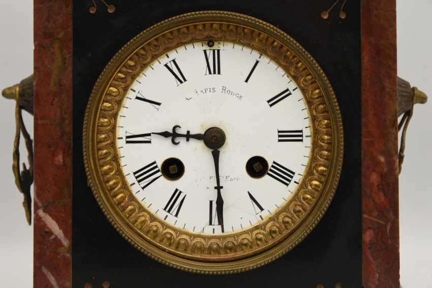 Mantel clock, Empire style, marble/glass/metal, France 20. Century - photo 2