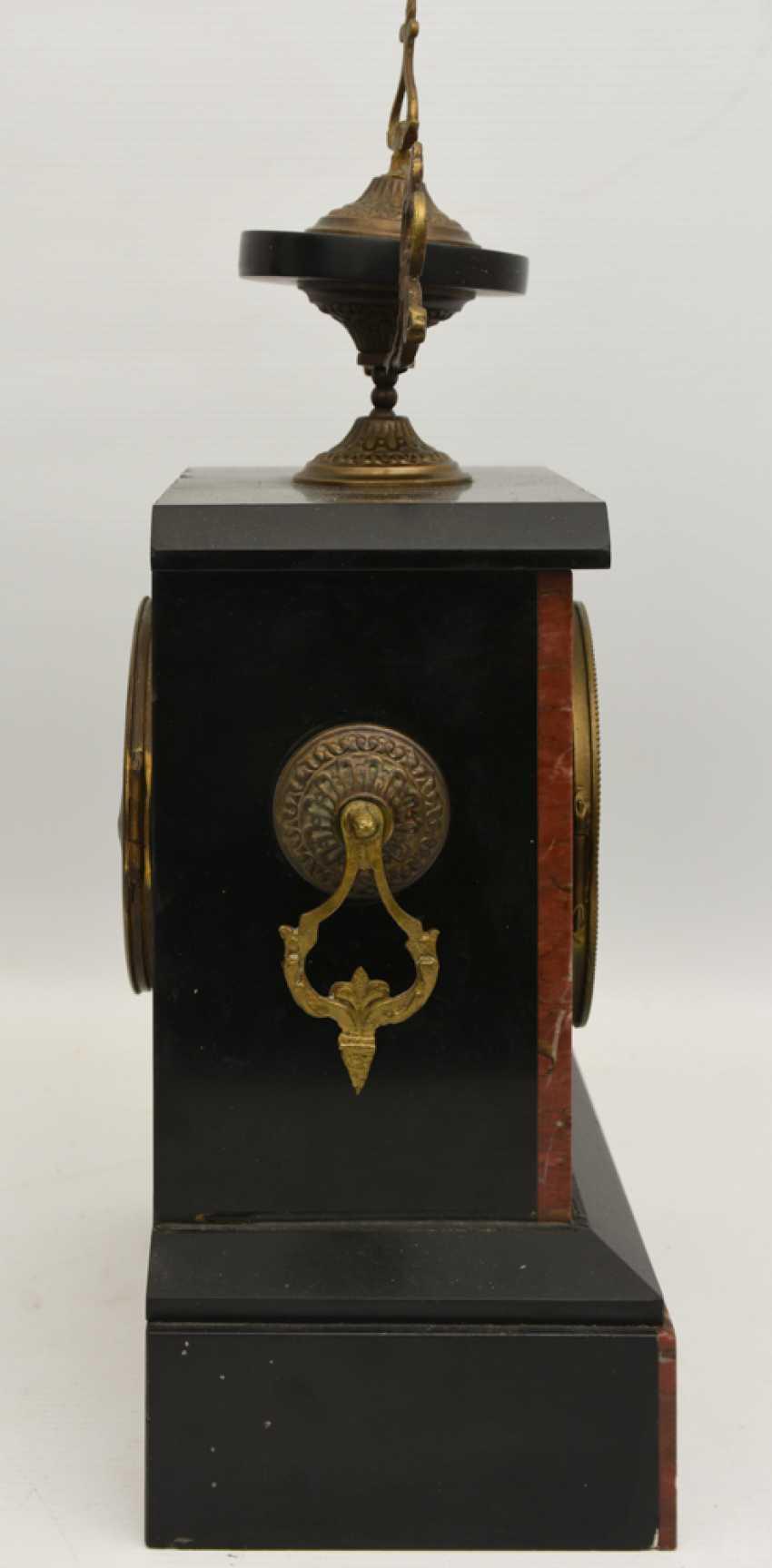 Mantel clock, Empire style, marble/glass/metal, France 20. Century - photo 3
