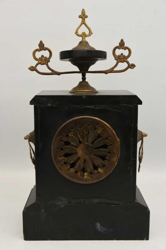 Mantel clock, Empire style, marble/glass/metal, France 20. Century - photo 4